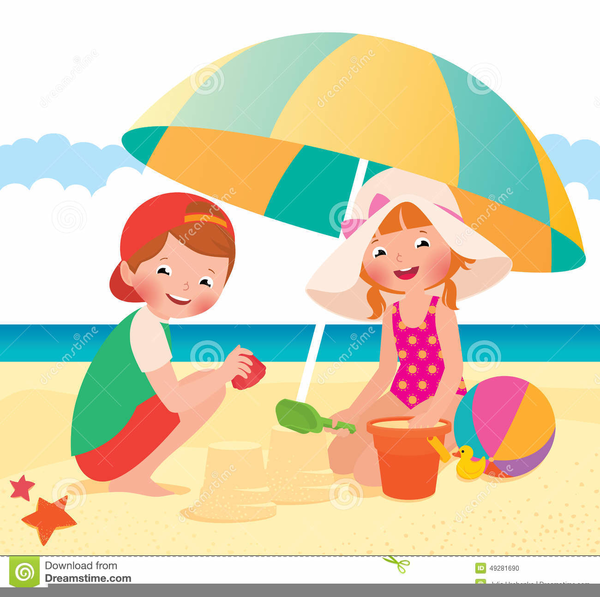 Free Clipart Of Children Playing At The Beach.