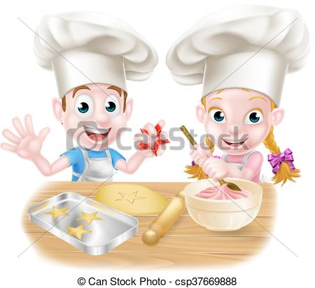 Cartoon Chef Kids Baking.