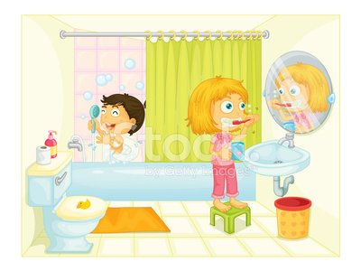 Kids in the bathroom Clipart Image.