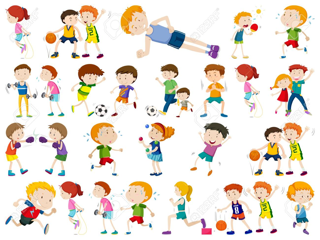 Kids exercising and being active in set illustration.