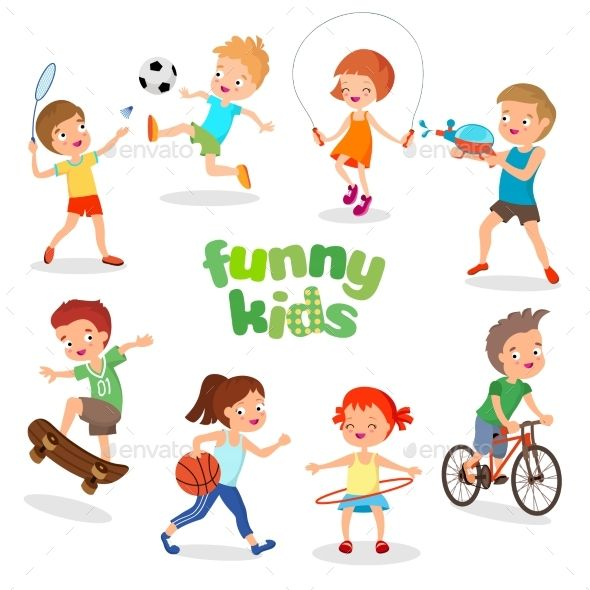 Uniformed happy kids playing sports. Active children vector.