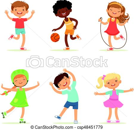 Kids playing in active games. Vector illustrations of funny children at  playground.