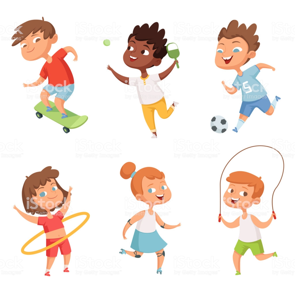 Various Kids In Active Sports Vector Characters Isolate On White Background  Stock Illustration.