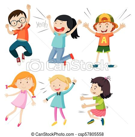 A Set of Active Kids on White Background.