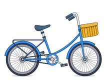 Kids bicycle with basket clipart » Clipart Station.