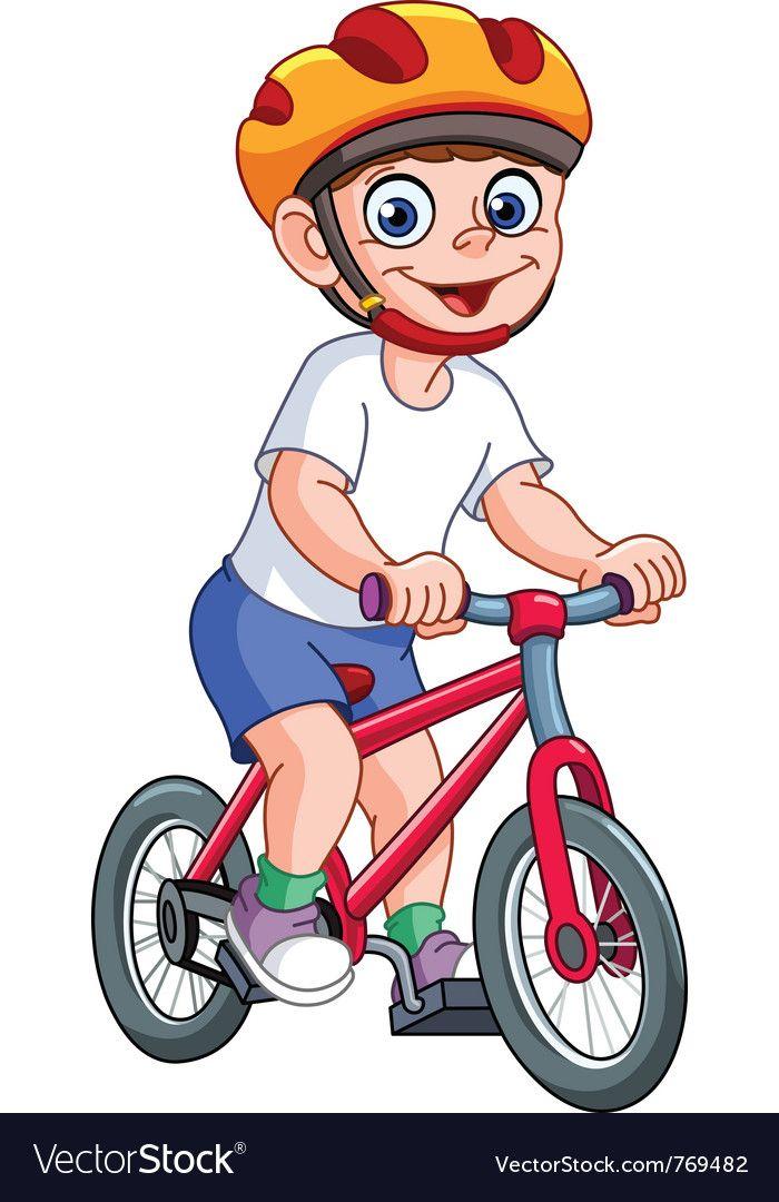 Kid on bicycle Royalty Free Vector Image.