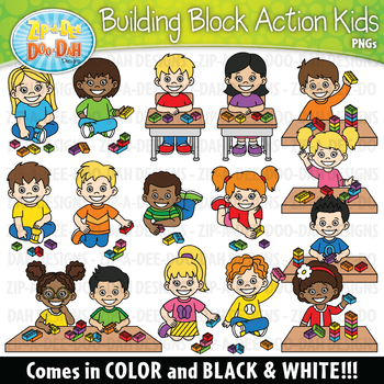 Building Blocks Action Kids Clipart {Zip.
