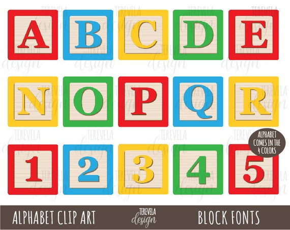 50% SALE BLOCKS FONTS Clipart, Alphabet Clip Art, kids blocks Clip Art,  Printable, toys, commercial use, block toys, alphabets, kids letters.