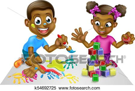 Cartoon Kids with Paint and Blocks Clipart.