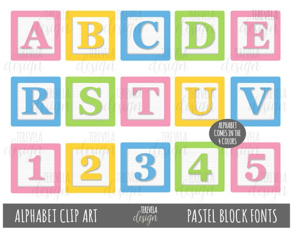 PASTEL BLOCKS FONTS Clipart, Alphabet Clip Art, kids blocks Clip Art,  Printable, baby fonts, commercial use, block toys, kids letters, cute.