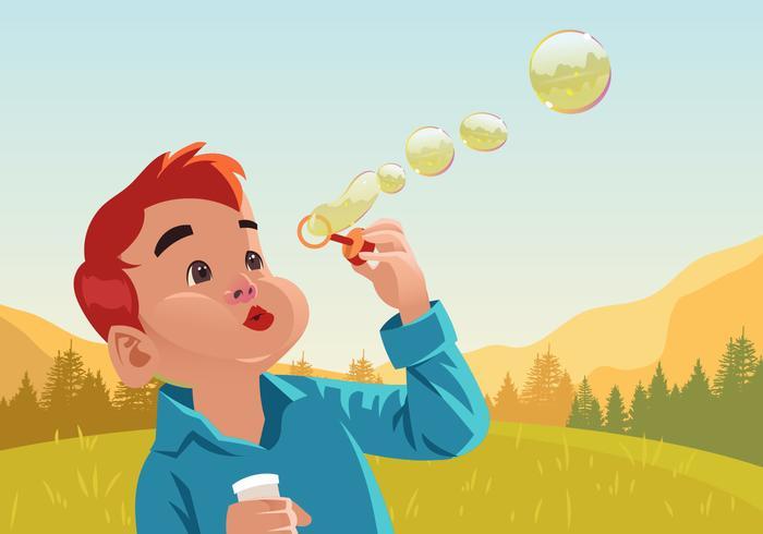 Kids Blowing Bubbles Vector.