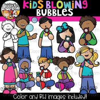 Kids Blowing Bubbles Clipart {Kids Clipart}.