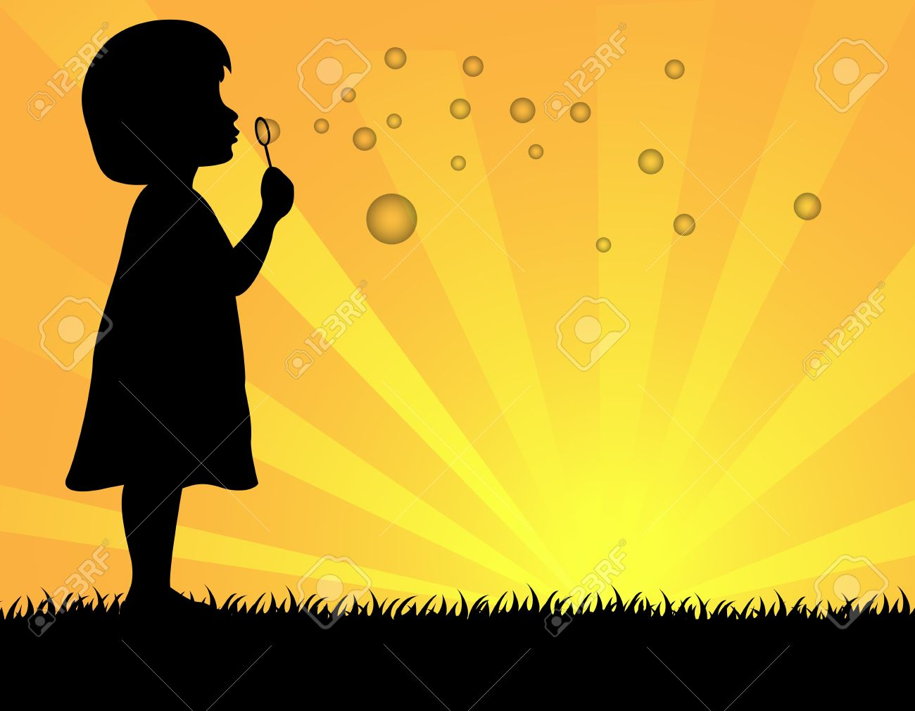kids blowing bubbles silhouette clipart - Clipground