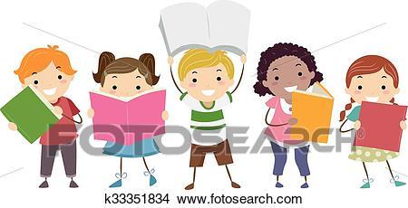Stickman Kids Books Clipart.