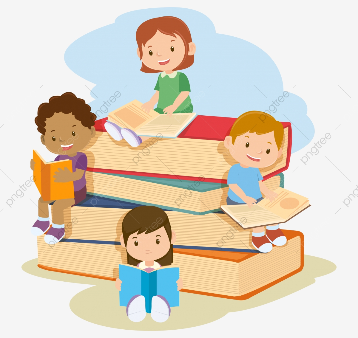 Children Reading Book, Education, School, Kids PNG and Vector with.