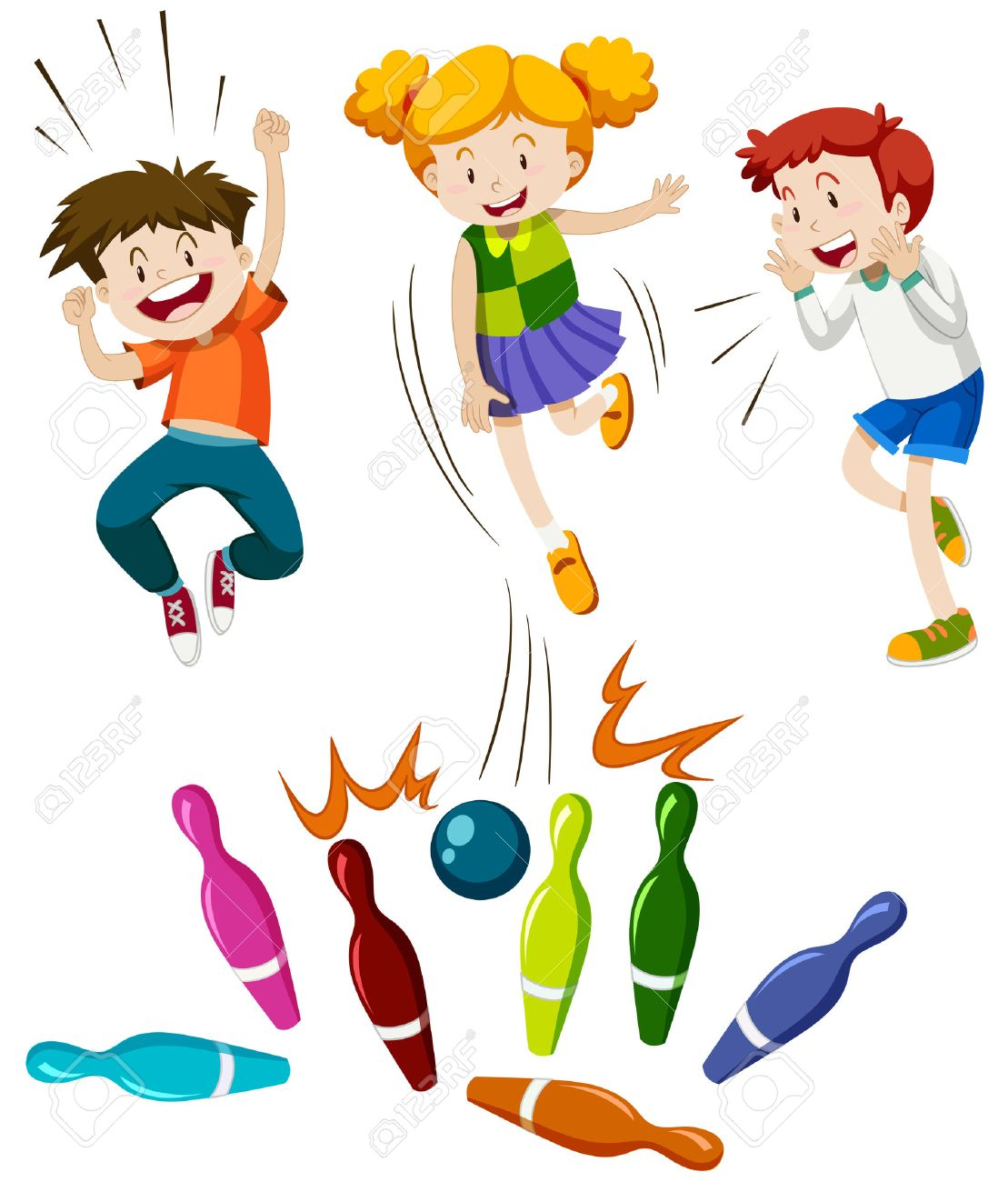 Children playing game of bowling illustration.