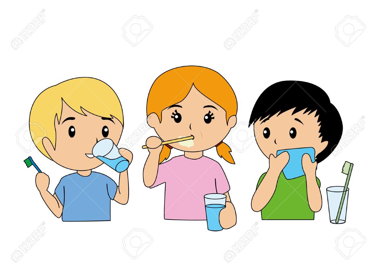 Children Brushing Teeth.