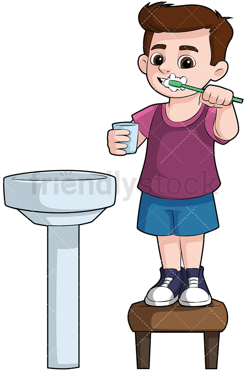 Little Boy Brushing His Teeth In The Sink.