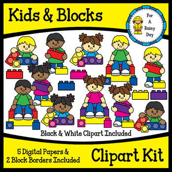 Kids & Building Blocks Clipart Kit (lego like).
