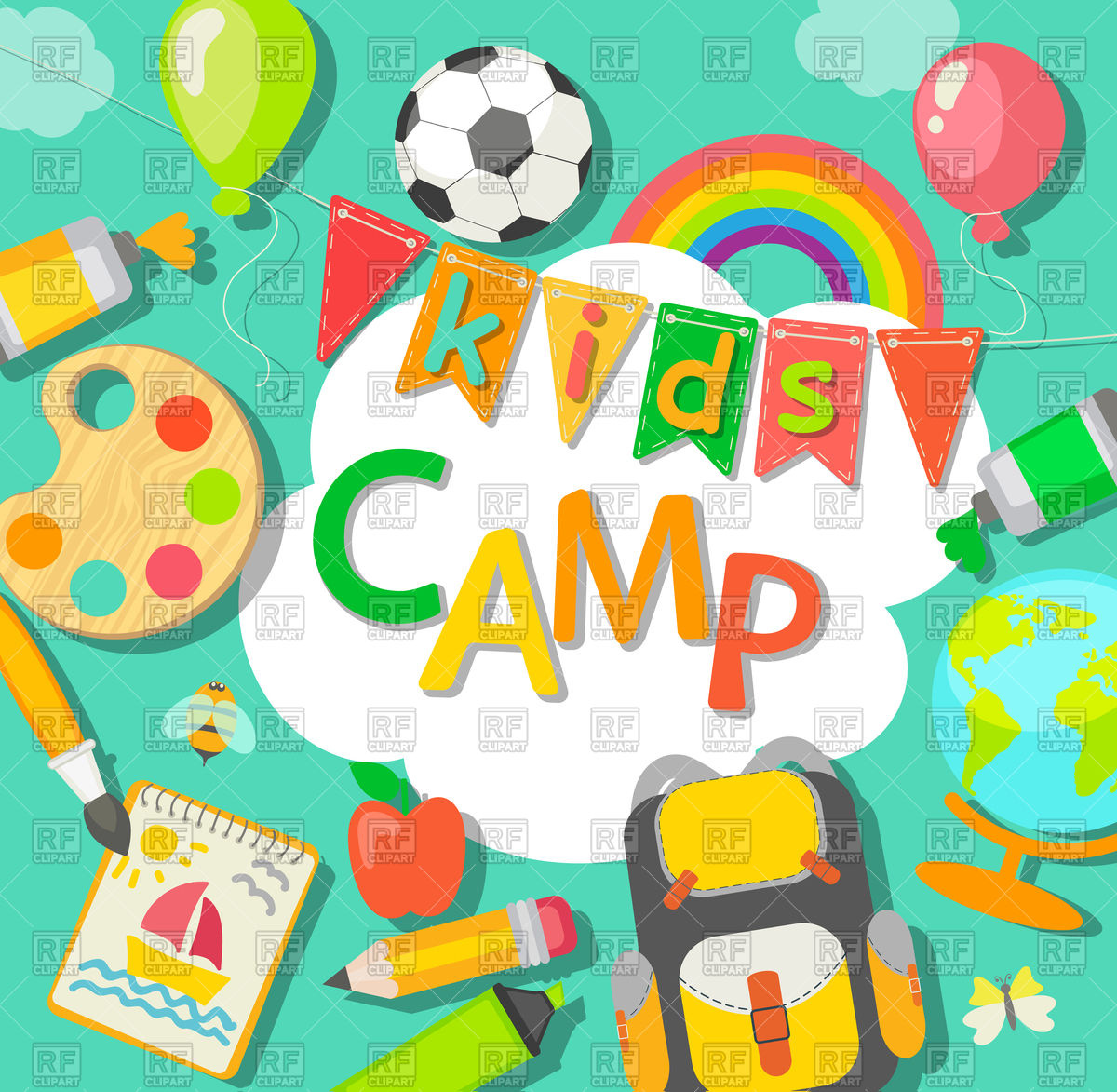 Summer kids camp poster with bag, paint, balloon Stock Vector Image.