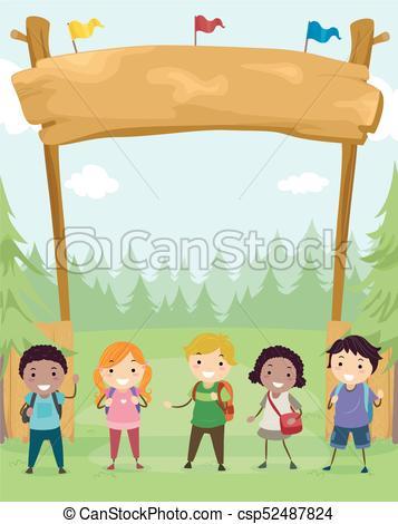 Stickman Kids Camp Site Banner Illustration.