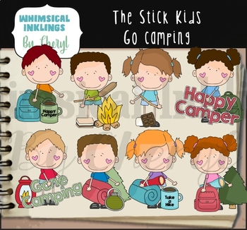 The Stick Kids Go Camping Clipart Collection.
