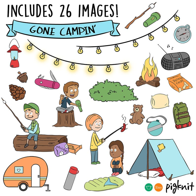 Camping Clipart Digital Download.