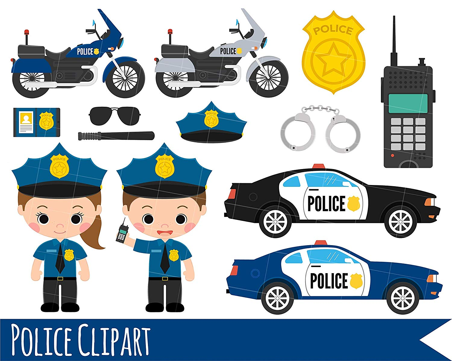 Amazon.com: Kids Police Clipart, Girl and Boy Police Clipart.