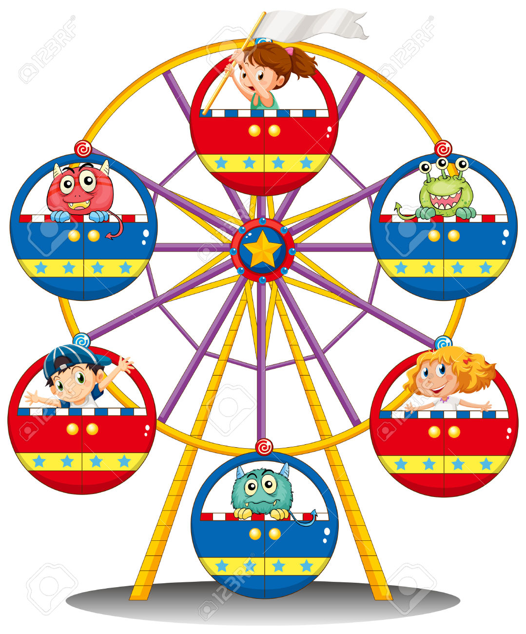 Illustration Of A Carnival Ride With Monsters And Kids On A White.