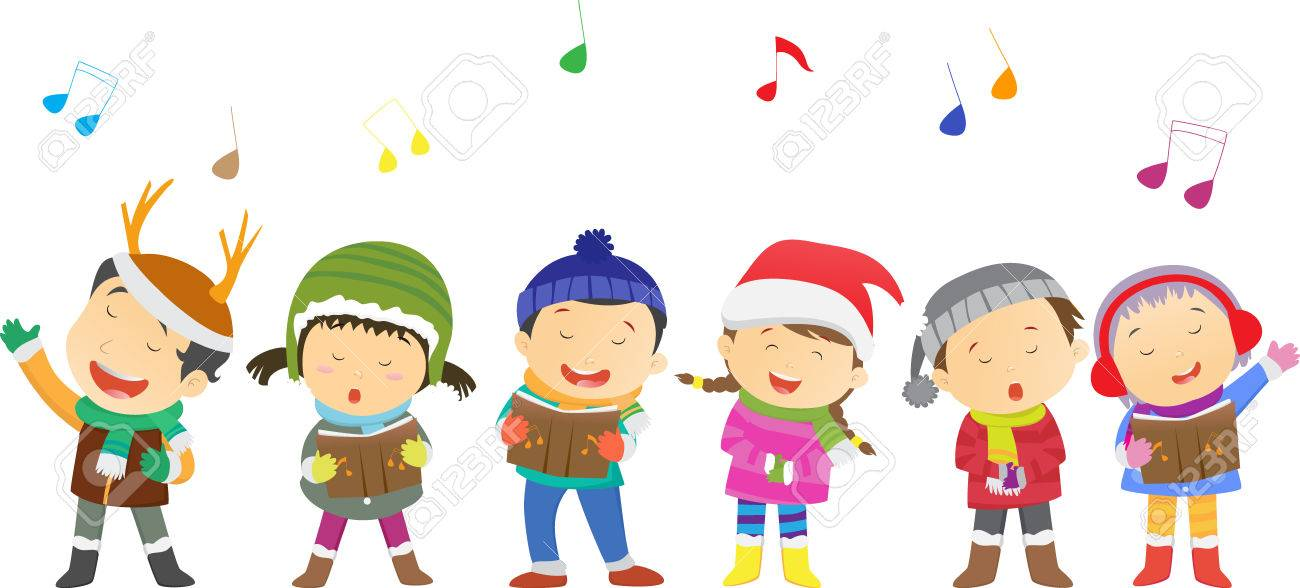 happy kids singing Christmas Carols.