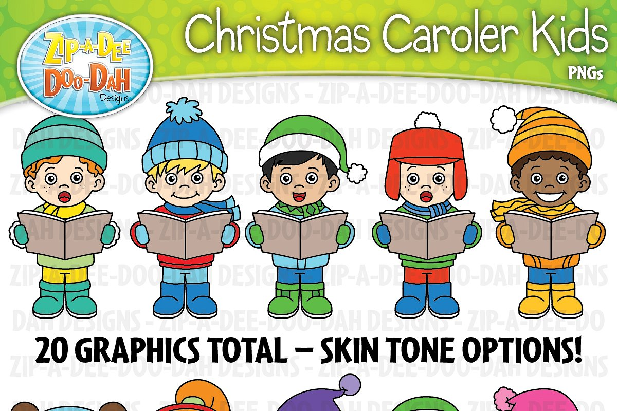 Christmas Carolers Kids Clipart Set.