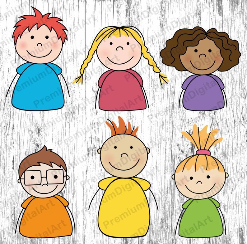 6 Cartoon Kids clipart, Kids clipart, Kids clipart set, digital Kids Faces,  digital Kids,cartoon clipart,cartoon faces clipart,scrapbooking.
