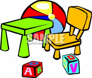A Kids Table And Chair With Blocks And A Ball.