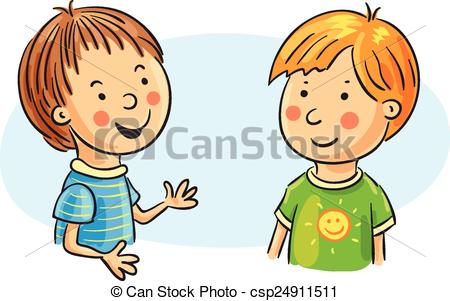 Kids Chatting Clipart.