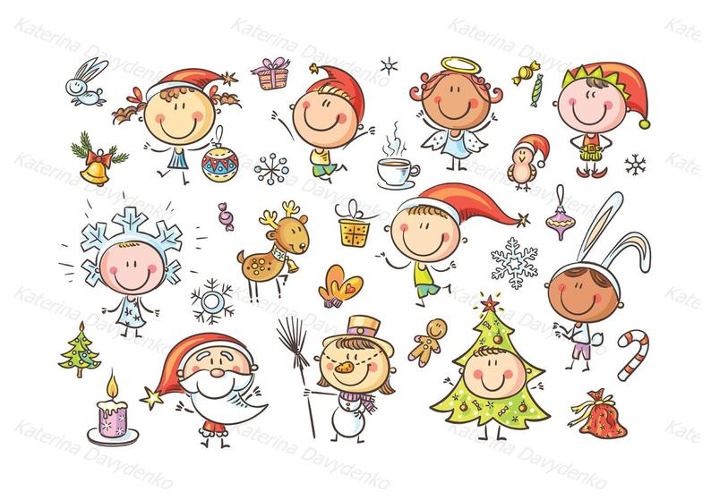 Christmas Kids. Christmas clipart, clipart children, doodle svg, happy kids  clipart, cartoon kids, kids illustration, image svg, png files.