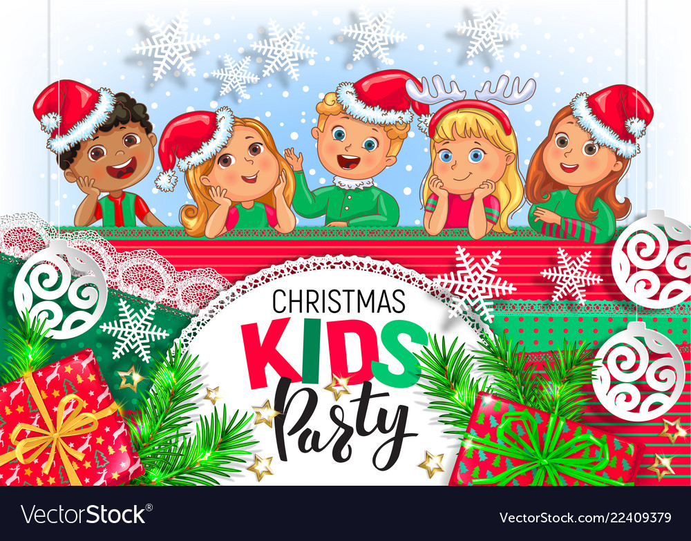 Christmas kids party design.