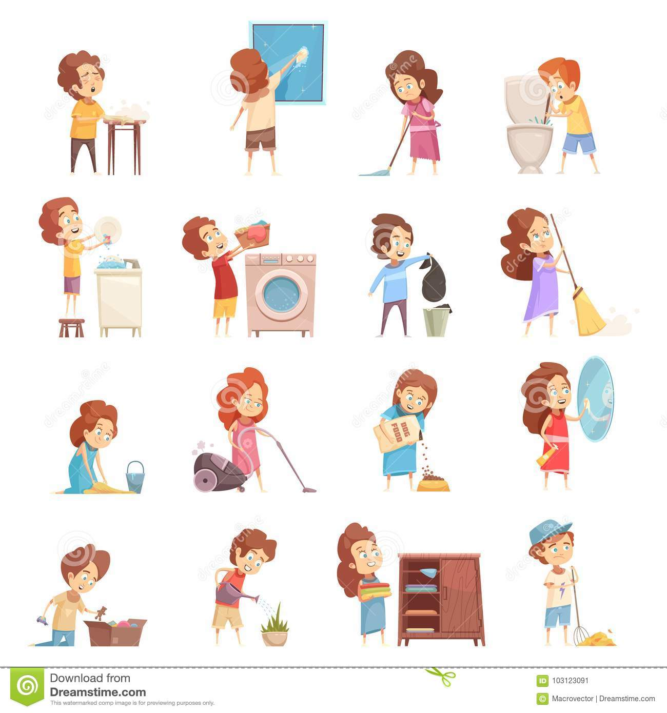 Kids Cleaning Cartoon Icons Set Stock Vector.