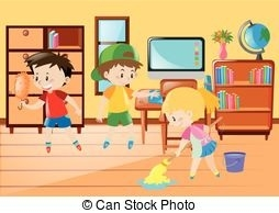 Children Help Cleaning Classroom Illustration Clip Art.
