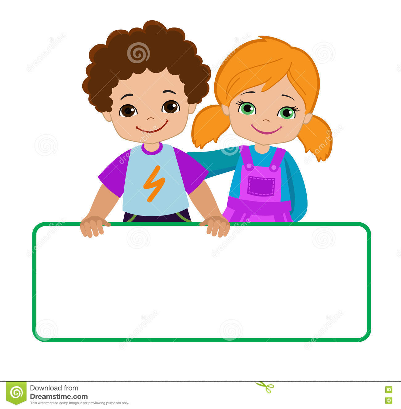 Kids With Signs. Bricht Kids .Frame Board. Clipart. Child Meeting.