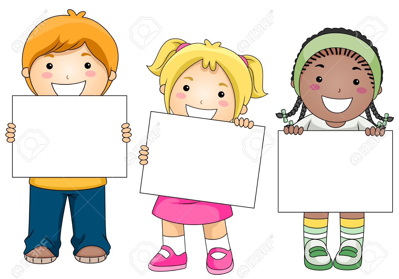 Kids With A Blank Board Against White Background Stock Photo.