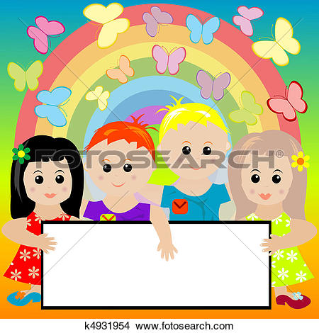 Clipart of two kids holding a banner k4085941.