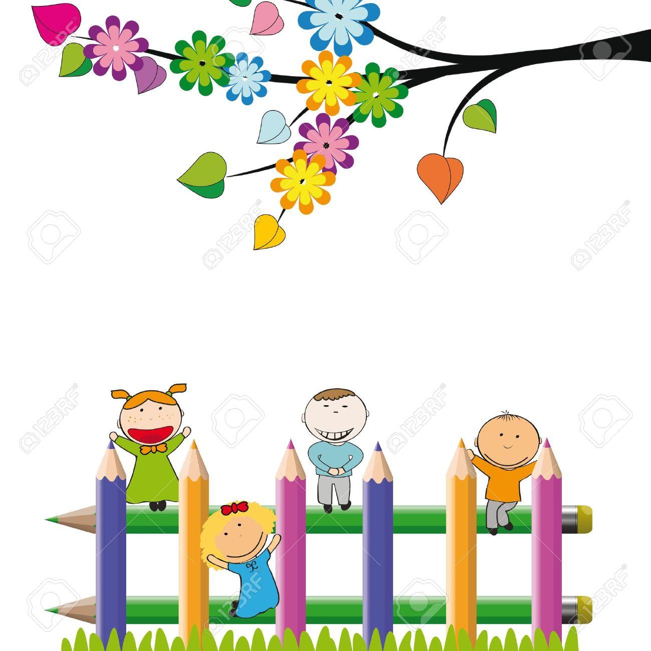 Kids clipart background clipground for Jardin dibujo