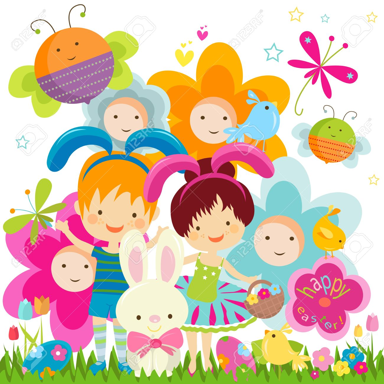 Easter Background With Happy Bees And Flowers Royalty Free.