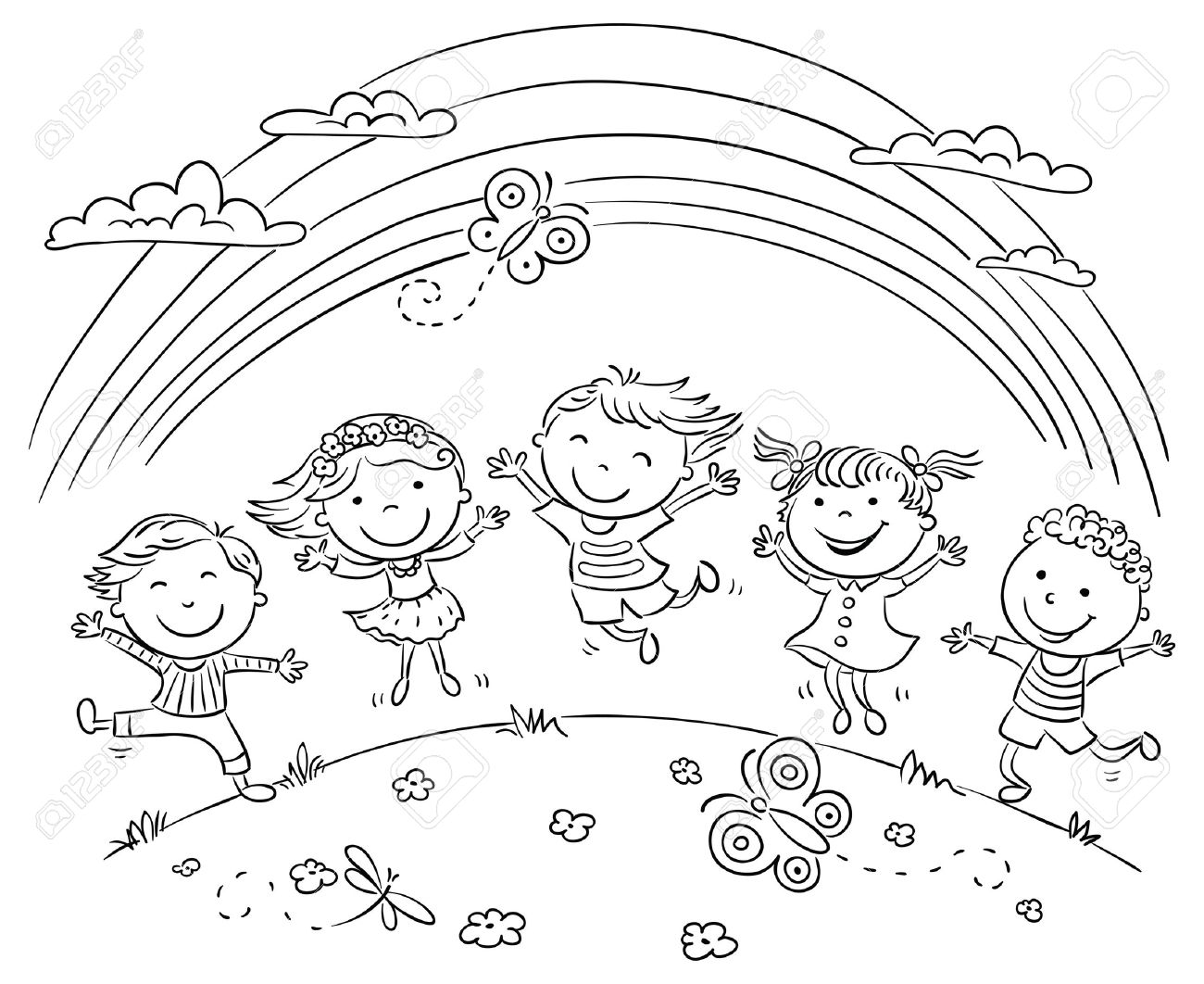 Kids jumping with joy on a hill under rainbow, black and white...