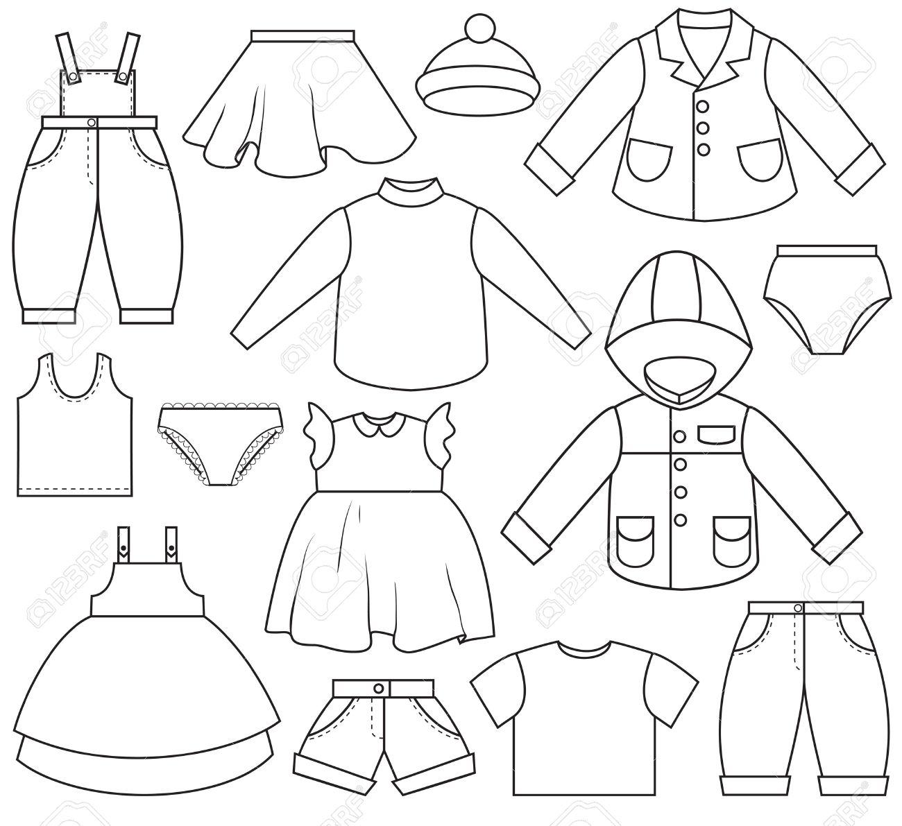 Clothing Clothes Clip Art Black And White #113477.