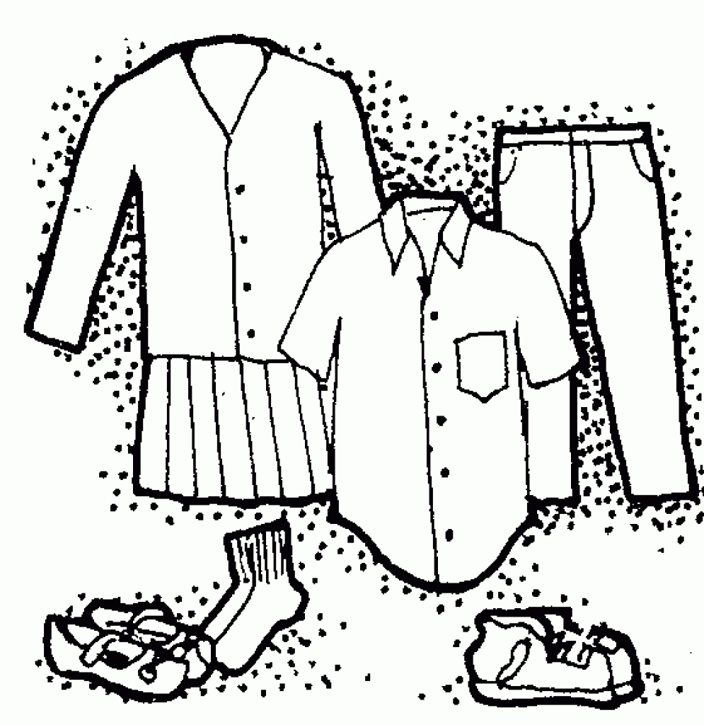Kids Clothes Clipart Black And White.