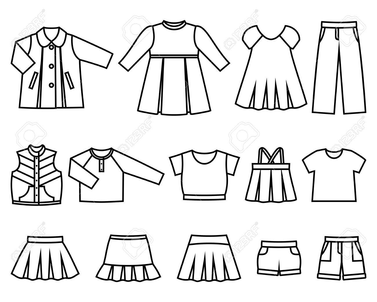 Set of line icons children's clothes for girls. Collection of...