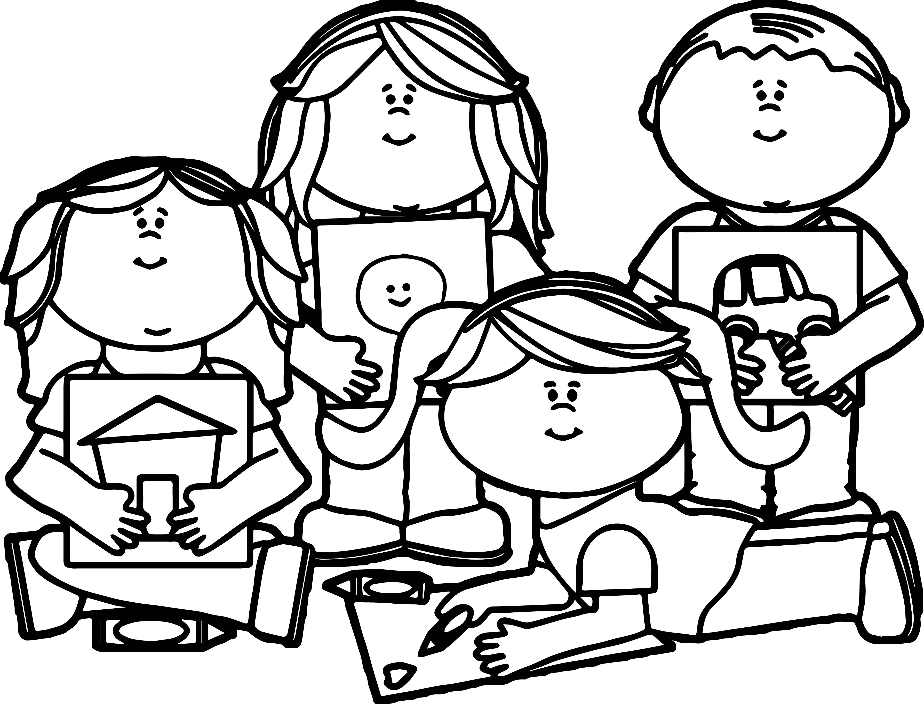 Collection of Kids coloring clipart.