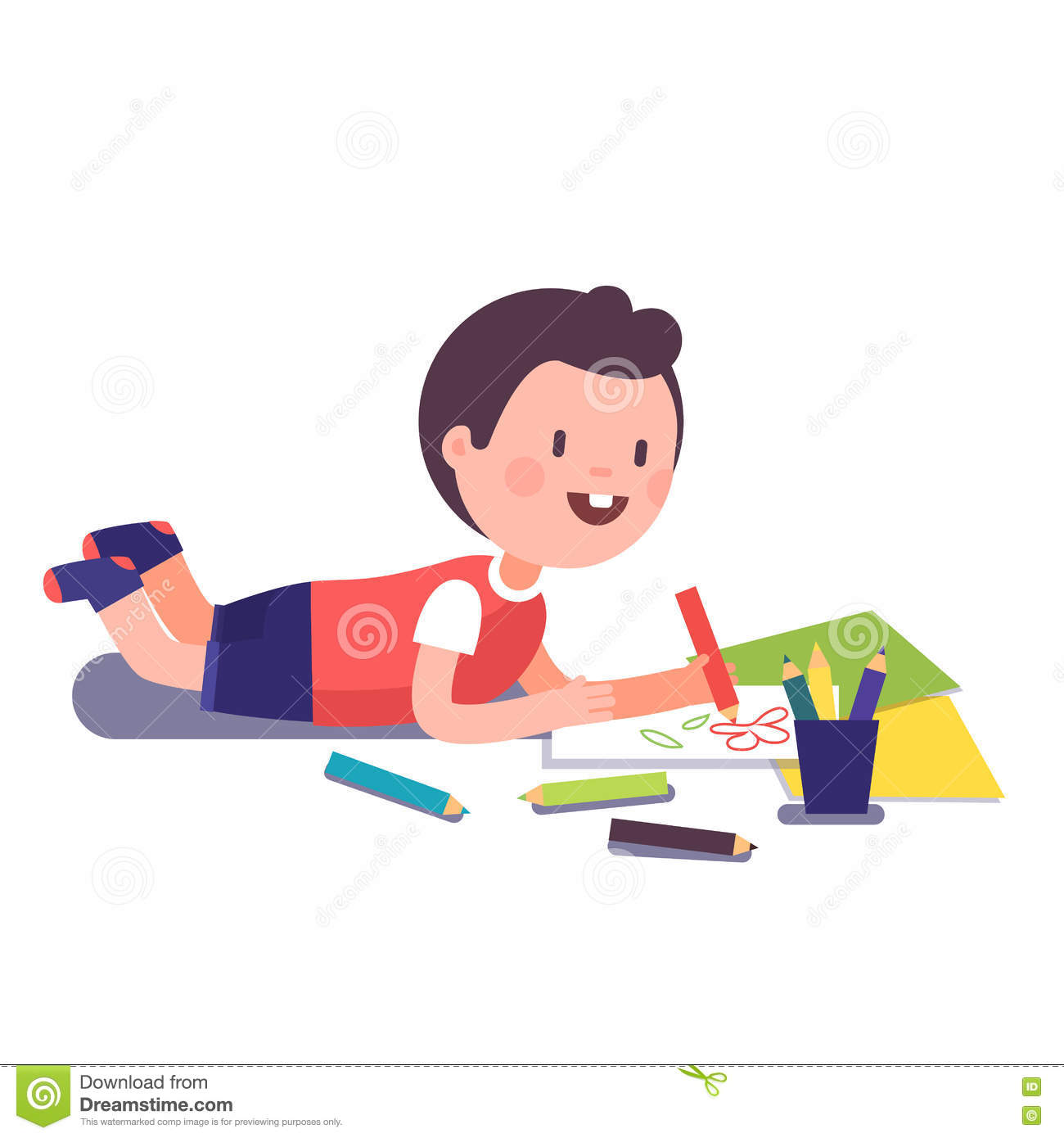 Happy Smiling Kid Painting And Coloring Stock Vector.