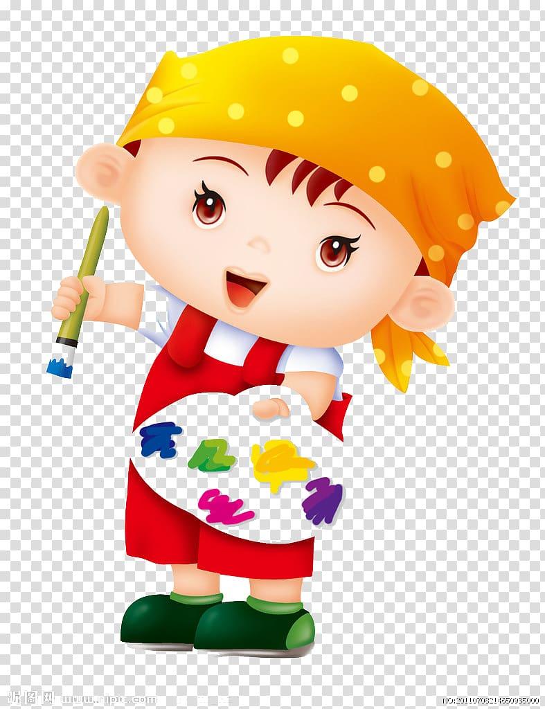 Child holding painting pan and brush illustration, Paintbrush.